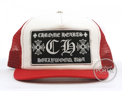 Chrome Hearts Trucker Cap with Snap Back Red CH