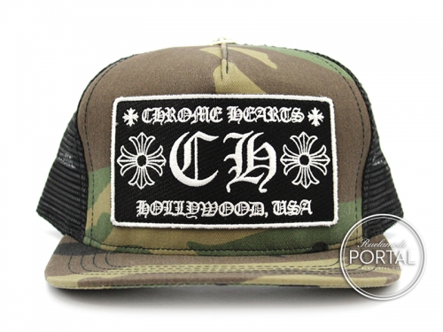 08c771cb45c Chrome Hearts Trucker Cap with Snap Back Camouflage Hollywood CH with Black