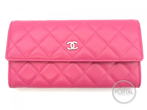 Chanel Classic Flap Wallet in Pink Lambskin with Silver Hardware
