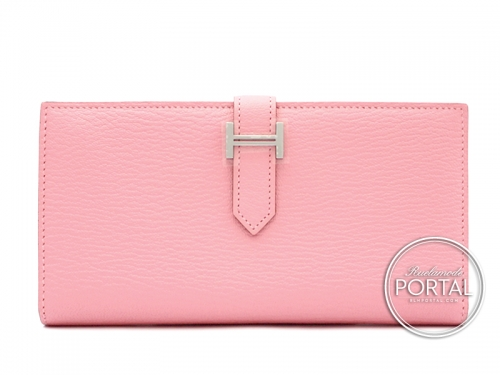 Hermes Bearn Long Wallet - Rose Confetti in Chèvre with Palladium Hardware