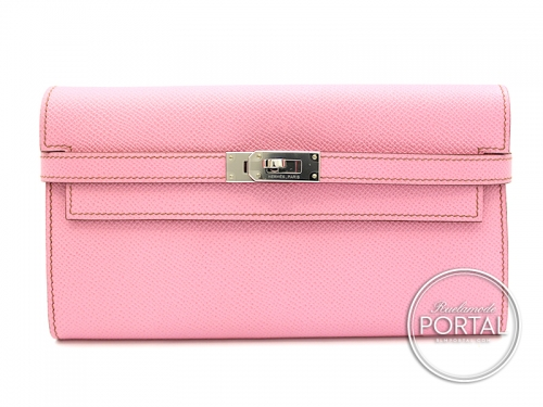 Hermes Kelly Long Wallet - 5P Pink in Epsom with Palladium hardware
