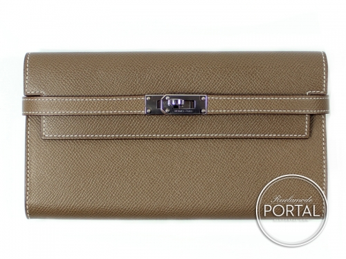 Hermes Kelly Long Wallet - Etoupe in Epsom with Palladium hardware
