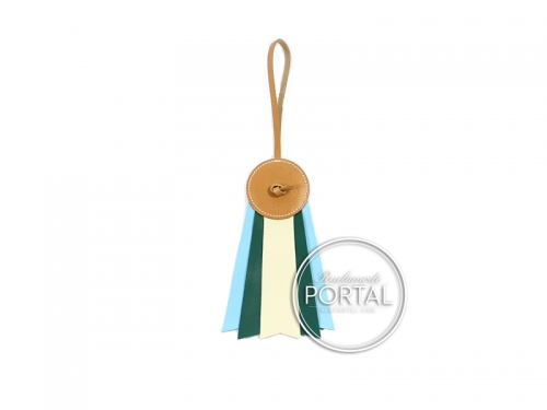 Hermes Bag Charm - Paddock Flot Vache Hunter in Craie / Malachite / Celeste