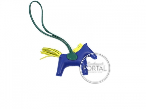 Hermes Bag Charm - Rodeo Charm in Bleu Electrique / Malachite / Lime PM Size