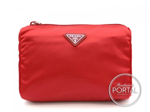 Prada Cosmetic Pouch - Rosso in Vela with Silver Hardware (Medium)