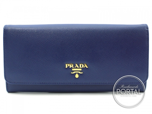 Prada Long Wallet - Pattina - Bluette in Saffiano with Gold hardware