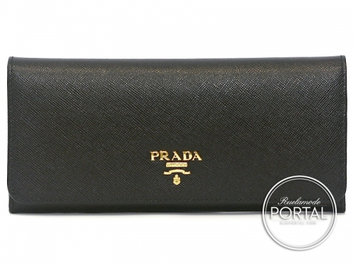 Prada Long Wallet - Pattina - Nero in Saffiano with Gold hardware