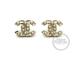 Chanel Earrings - CC Classic Light Gold with Pearls