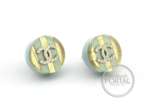 Chanel Earrings Cc Clic Acrylic Circle With Gold Baby Blue Mini