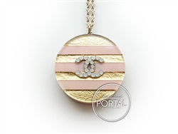 Chanel Chain Necklace - CC embedded with gold and pink acryl ...