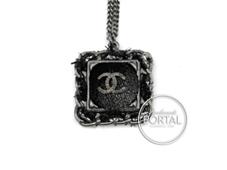 Chanel Square Rhodium with Fabric Button and Inter-twined Th ...