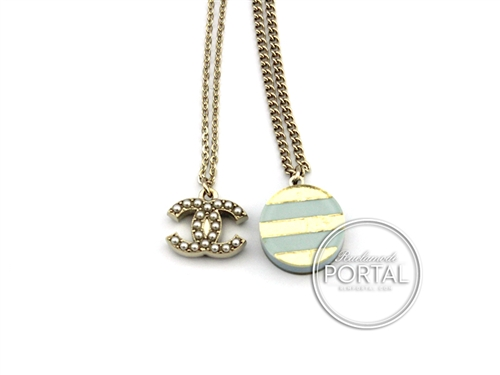 Chanel Classic CC Gold with Pearls and Acrylic Gold / Baby Blue pendant