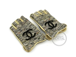 Chanel Vintage - Gloves - Gold with Woven Fabric