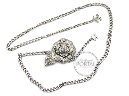 Chanel Vintage - Chanel Belt Chain - Silver Chain with Crystal encrusted flower