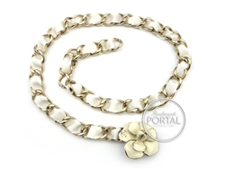 Chanel Vintage - Chanel Belt Chain - Cream Camelia in Gold w ...