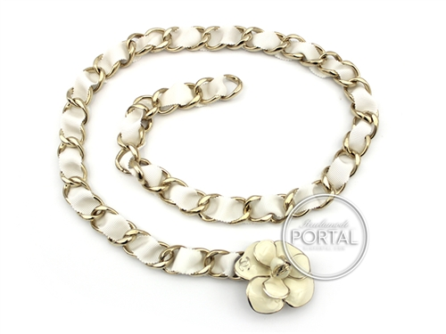 Chanel Vintage - Chanel Belt Chain - Cream Camelia in Gold with Gold chain and interwoven fabric