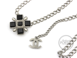 Chanel Vintage - Chanel Belt Chain - Black squares buckle with Brushed Silver and Silver CC in Brushed Silver