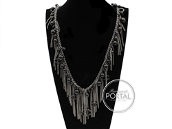 Chanel Vintage - Pearl Necklace - Rhodium necklace with dangling pearls and fringe