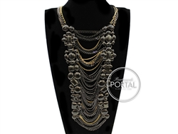 Chanel Vintage - Necklace - Rhodium and Gold necklace with B ...