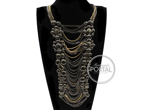 Chanel Vintage - Necklace - Rhodium and Gold necklace with Black and Gold jewels