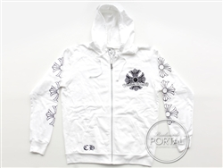 Chrome Hearts Hoodie in White - Zip up Hoodie Large