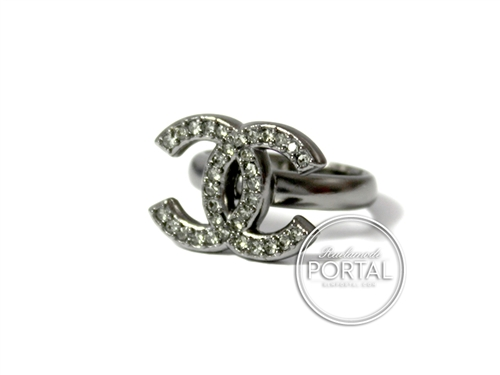 Chanel Ring - CC Classic Rhodium with Round Crystals