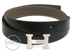 Hermes Belt - Etoupe & Black in Box & Togo with Brushed Pall ...