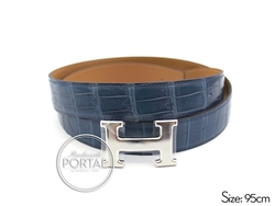 Hermes Belt - Bleu Roi in Croc with Shiny Palladium Hardware ...