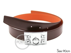 Hermes Belt - Chocolate in Box and Orange in Clemence with C ...