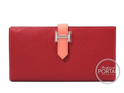 Hermes Bearn Long Wallet - Rouge Casaque and Flamingo in Eps ...
