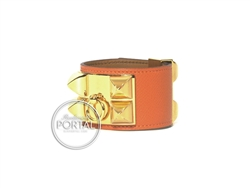 Hermes Collier De Chien - Orange in Epsom with Gold hardware