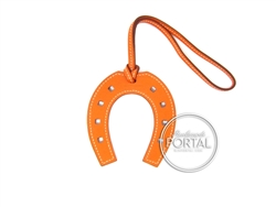 Hermes Bag Charm - Orange in Chèvre Horse Shoe Charm