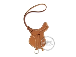 Hermes Bag Charm - Fauve in Barénia Paddock Saddle Charm