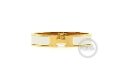 Hermes Clic H Narrow - White with Gold hardware