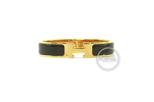 Hermes Clic H Narrow - Black with Gold hardware