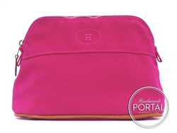 Hermes Cosmetic Pouch - Fuchsia in Canvas with Embroidered H ...