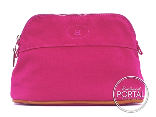 Hermes Cosmetic Pouch - Fuchsia in Canvas with Embroidered H finishing