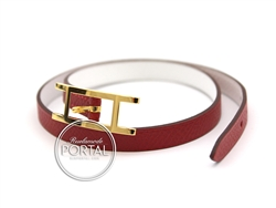 Hermes Hapi 2 - Rouge Casaque and White in Epsom with Gold hardware S