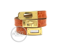 Hermes Kelly Double Tour - Orange in Croc with Gold hardware S
