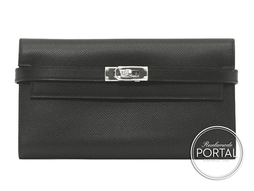 Hermes Kelly Long Wallet - Black in Epsom with Palladium hardware