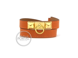 Hermes Rivale - Orange in Epsom with Gold Hardware S
