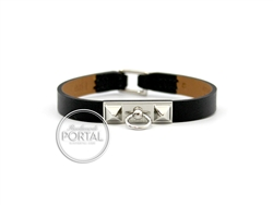 Hermes Micro Rivale Bracelet - Black with Palladium Hardware ...