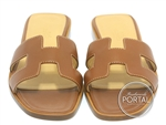 Hermes Sandal Oran - Gold in Box Leather with Ecru stitching