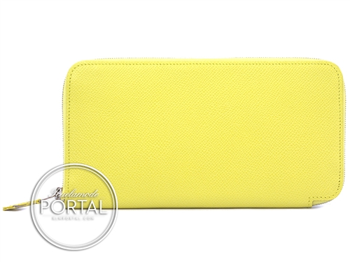 Hermes Silk-In Long Wallet - Souffre in Epsom with Yellow Silk interior