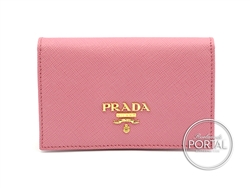 Prada Compact Wallet - Geranio in Saffiano with Gold hardwar ...