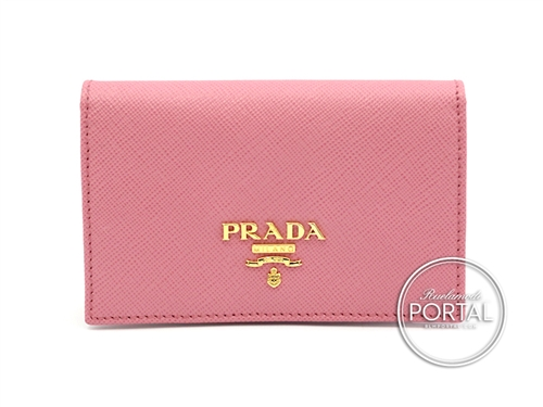 Prada Compact Wallet - Geranio in Saffiano with Gold hardware