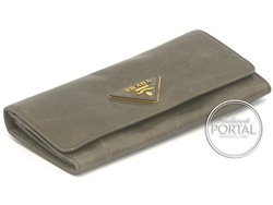 Prada Long Wallet - Fumo in Vitello Shine and Beige interior ...