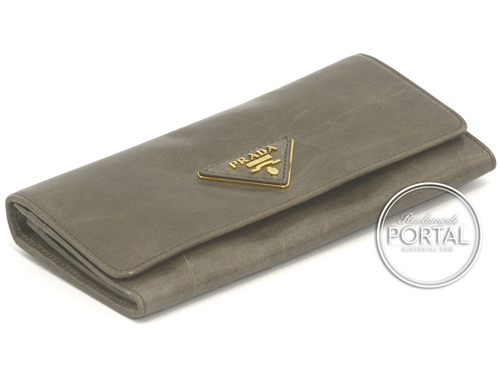 Prada Long Wallet - Fumo in Vitello Shine and Beige interior with Gold hardware