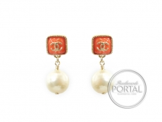 Chanel Earrings - CC Classic with Orange in Gold Frame with  ...