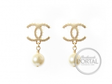 Chanel Earrings - CC Classic Bottle Cap in Gold with Drop Pe ...